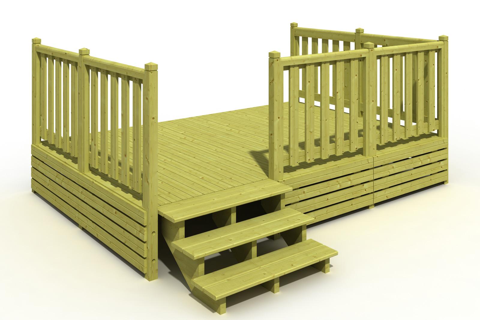 Terrasse Malte 250×360 ou 300×360 Terrasse Mobil Home Deckit Fabricant terrasses en bois  # Fabricant Mobil Home Bois