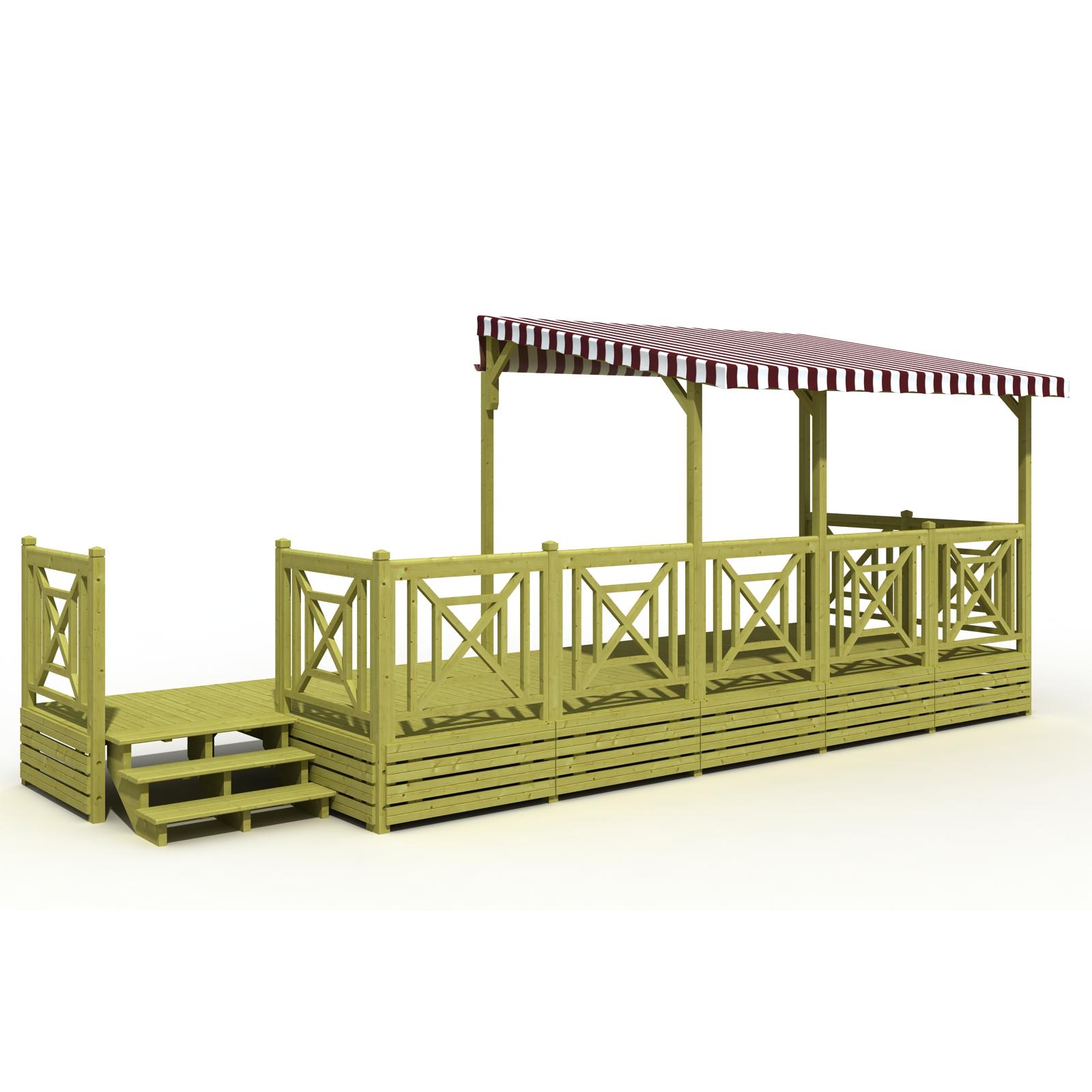 Terrasse mobil home bois avec sas et bâche de toit PVC semi couverte