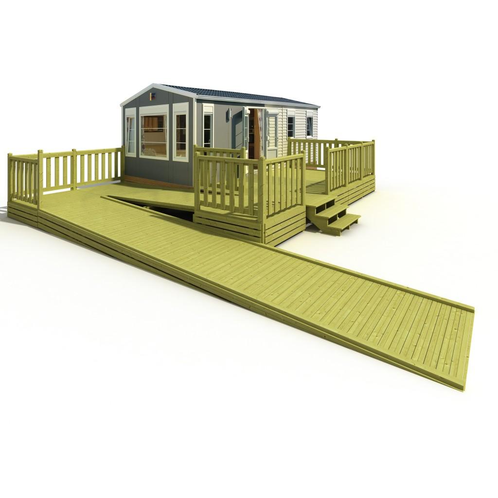 Terrasse en bois pour mobil home avec rampe PMR