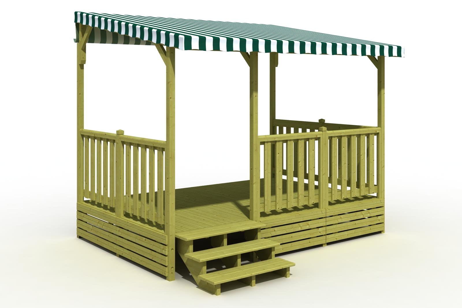 Terrasse en bois pour mobil home couverte avec bâche PVC, coloris de