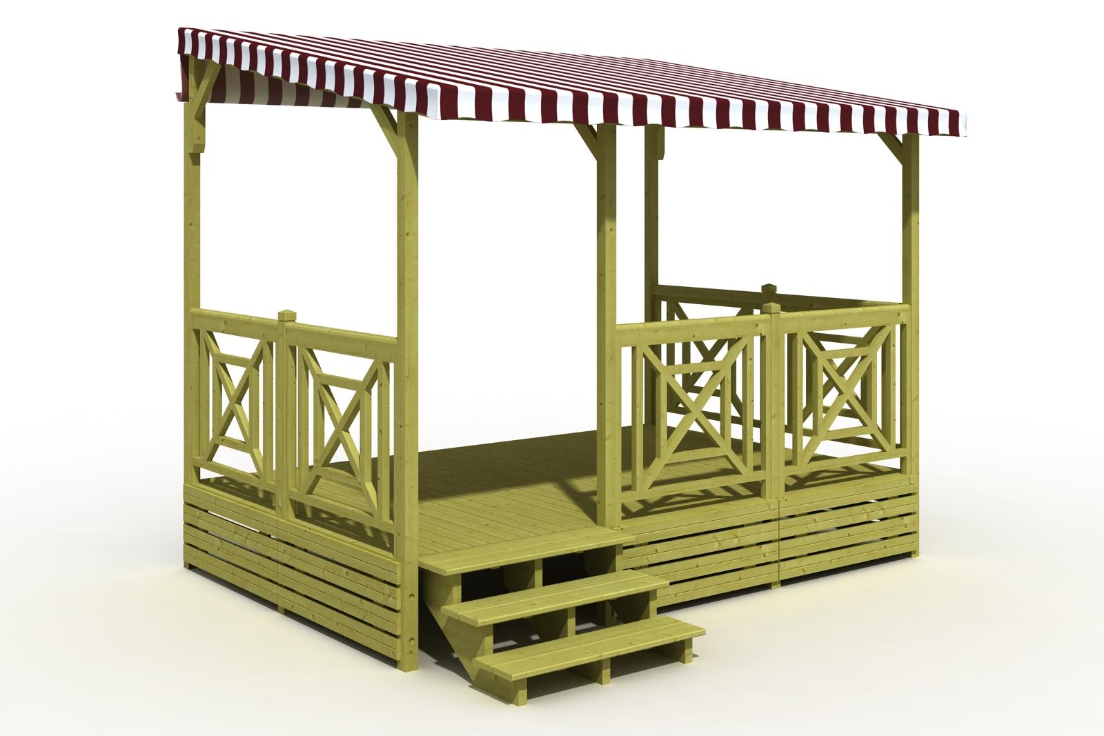 Terrasse mobil home en bois couverte avec option croix de Saint André