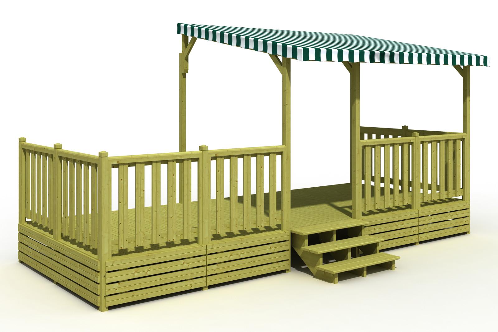 Terrasse mobil home 250×600 Semi Couverte sur 360  Terrasse Mobil