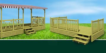 Terrasse mobil home en bois - terrasse mobilhome simple, terrasse mobil home semi couverte ou couverte.